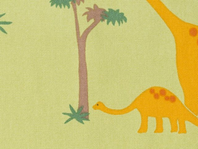 黄緑地の恐竜柄